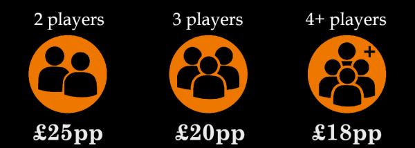 book escape room bookings player prices, per person
